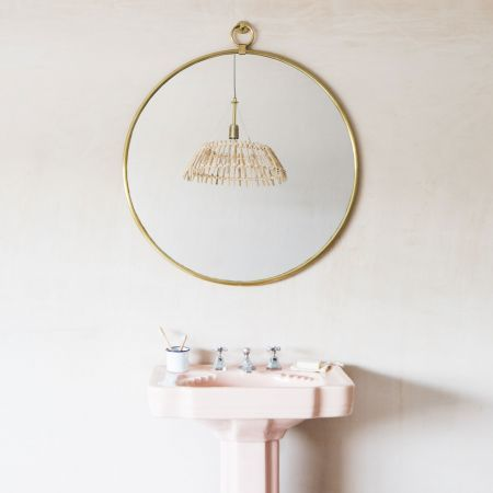 Large Antiqued Gold Pendant Mirror