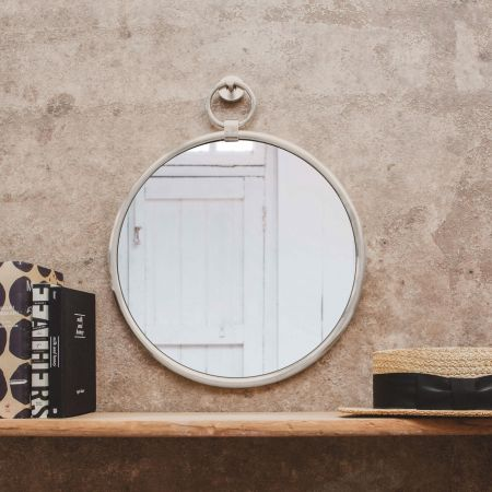 Small Antiqued Silver Pendant Mirror