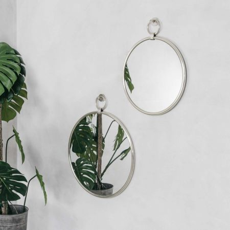Antiqued Silver Pendant Mirrors