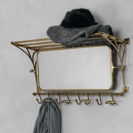 Otto Antique Gold Luggage Rack with Mirror - Thumbnail