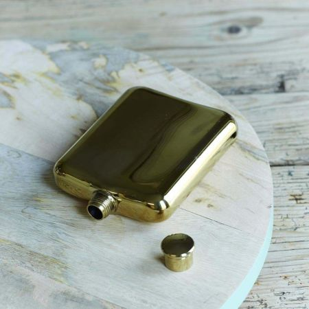 Belmont Gold Plated Hip Flask