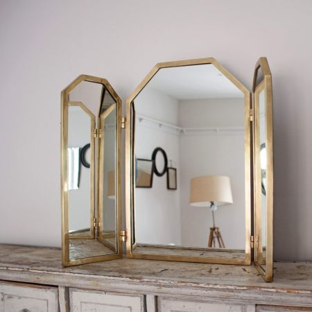 Odette Antiqued Gold Dressing Table Mirror