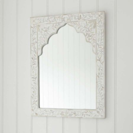 Mandir White Bone Inlay Mirror