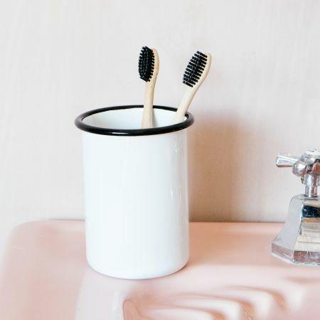 White Enamel Toothbrush Holder