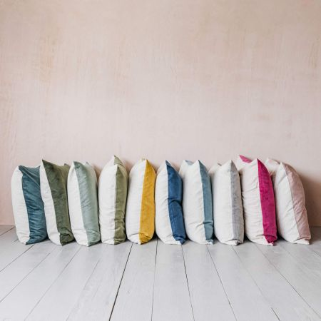 Large Velvet and Linen Backed Cushions
