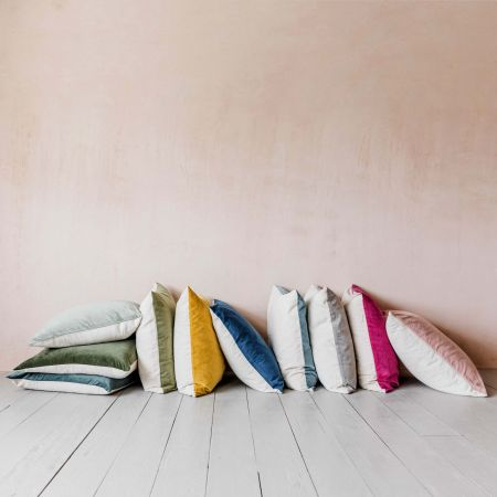 Small Velvet and Linen Backed Cushions