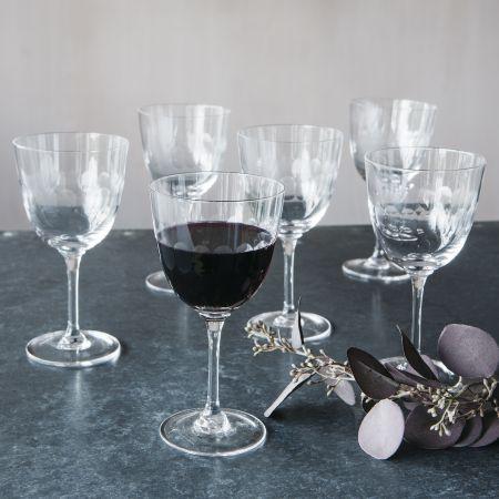 Set of Six Lens Wine Glasses