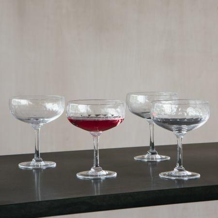 Set of Four Lens Coctail Glasses