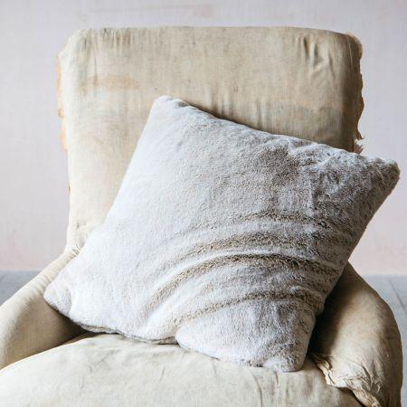 Caramel Tipped Faux Fur Cushion