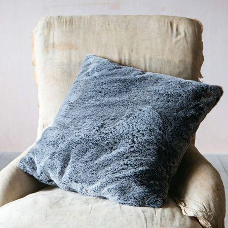 Charcoal Tipped Faux Fur Cushion