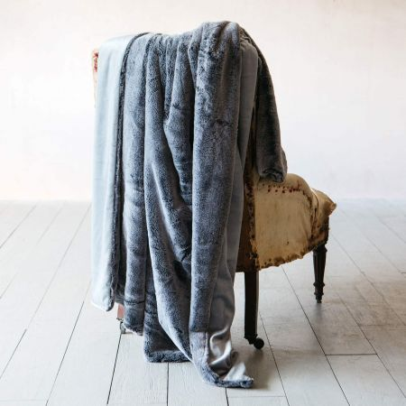Charcoal Tipped Faux Fur Throw