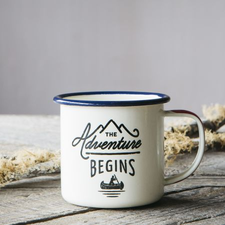 Adventures Cream Enamel Mug
