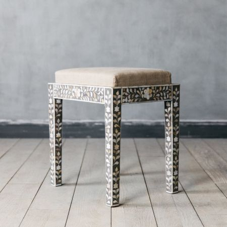 Maxi Grey Mother of Pearl Stool