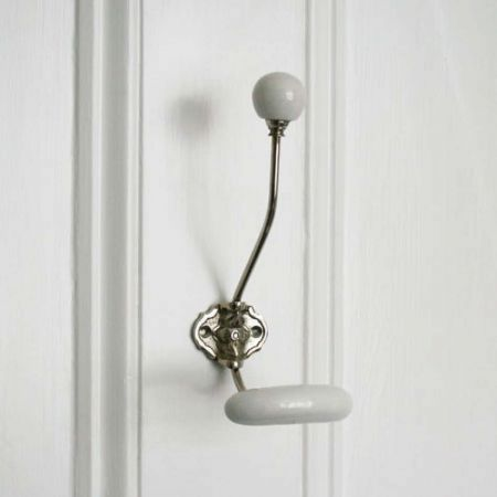 Silver Coat Hook With White Ceramic Knobs - Thumbnail