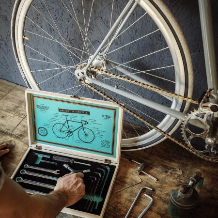 Bicycle Tool Kit in Wooden Box - Thumbnail