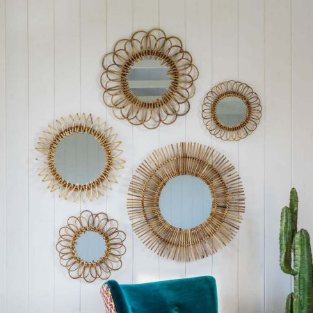 Set Of Five Rattan Wall Mirrors