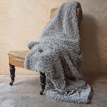 Faux Curly Grey Alpaca Throw