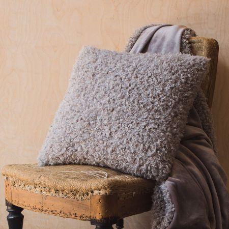 Faux Curly Grey Alpaca Cushion