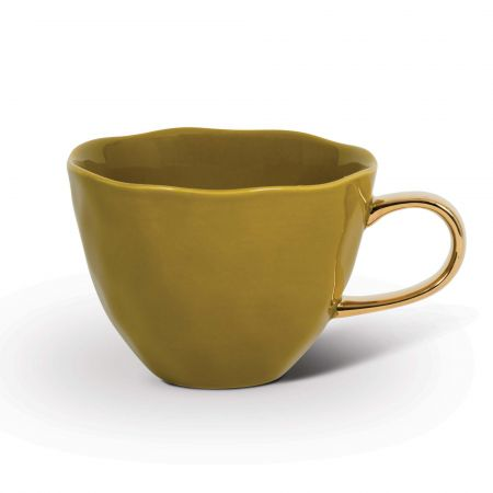 Yellow Coffee Cup with Gold Handle