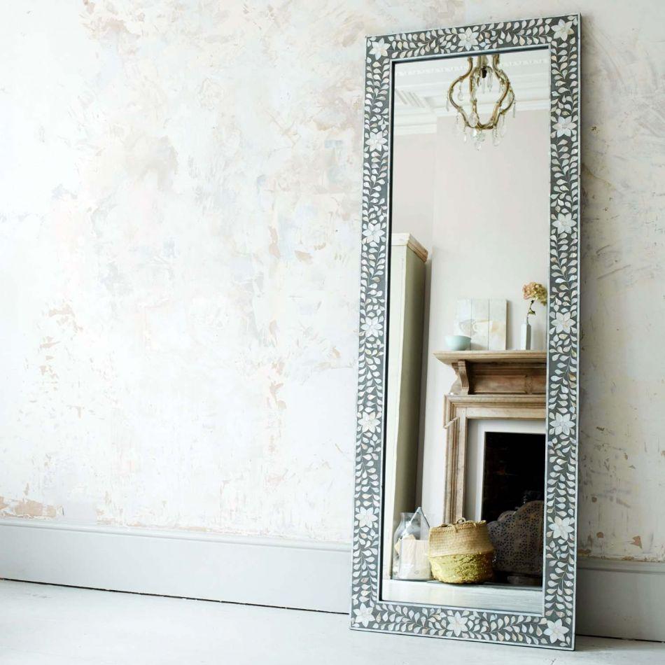 Classic Grey Mother Of Pearl Floor Mirror Graham Green