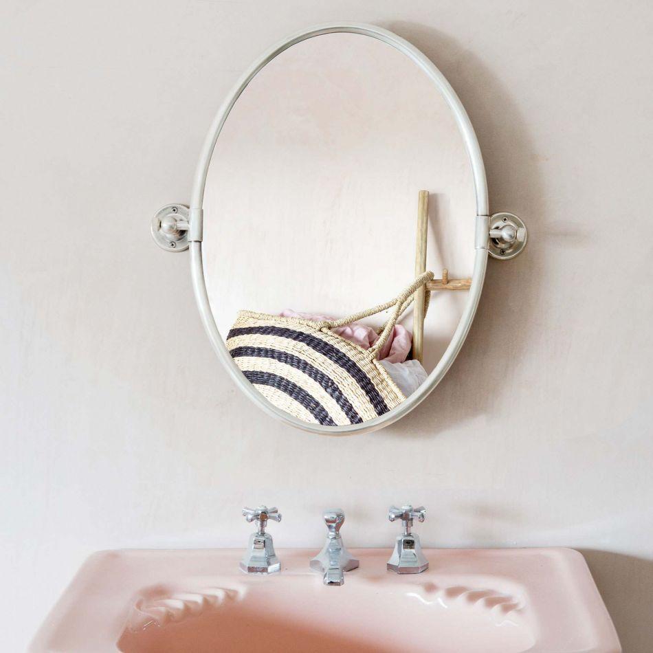 Otto Antique Silver Oval Tilting Mirror Graham Green