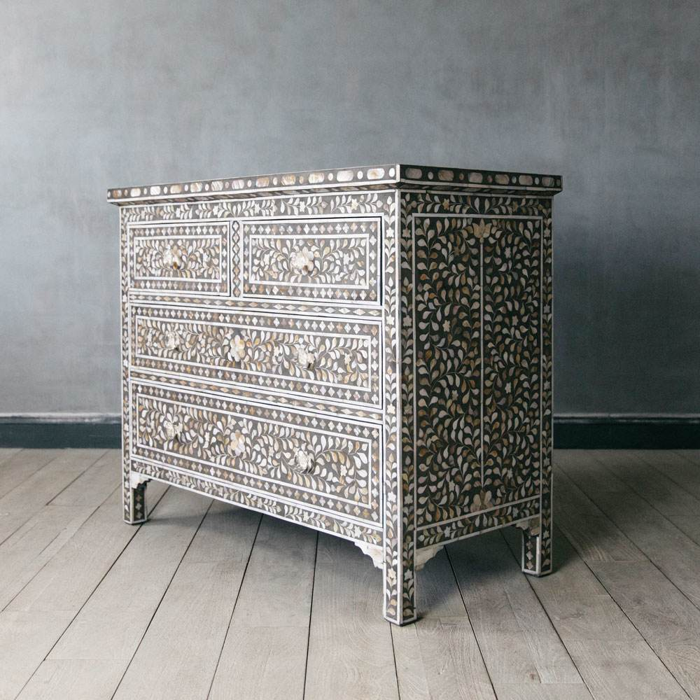 Classic Grey Mother Of Pearl Inlay Chest Of Drawers Graham Green