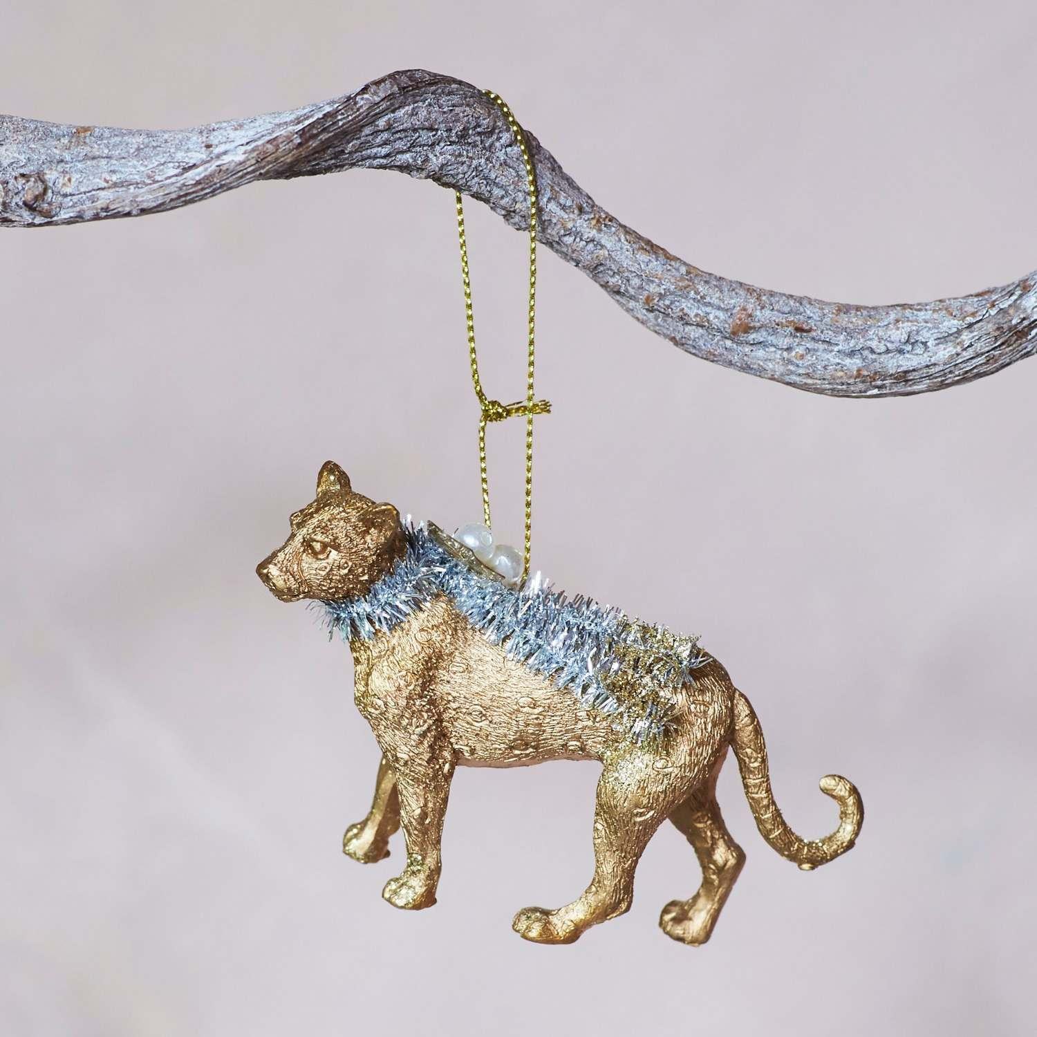 Gold Leopard with Tinsel Decoration