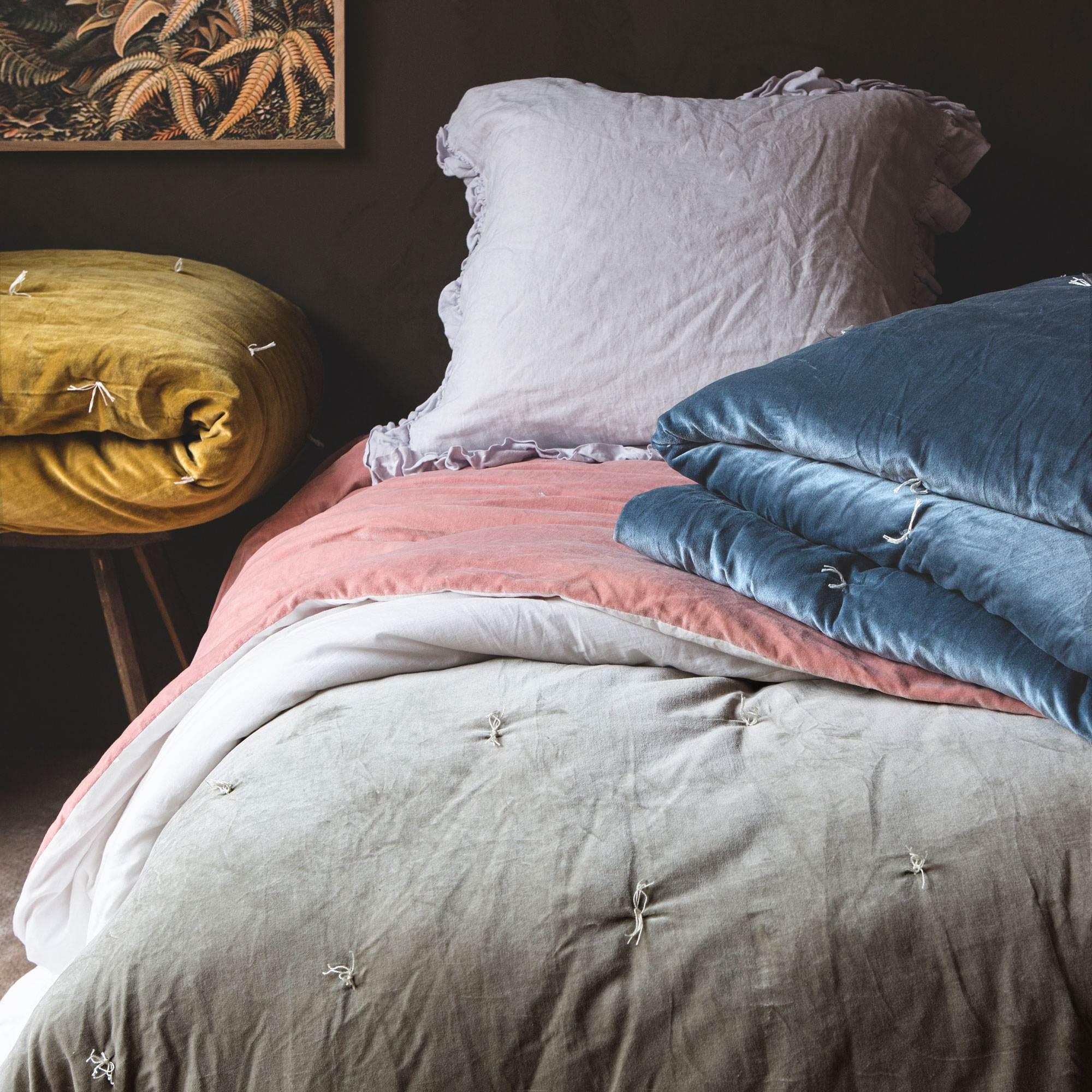 Pebble Velvet King Size Quilts Graham Green