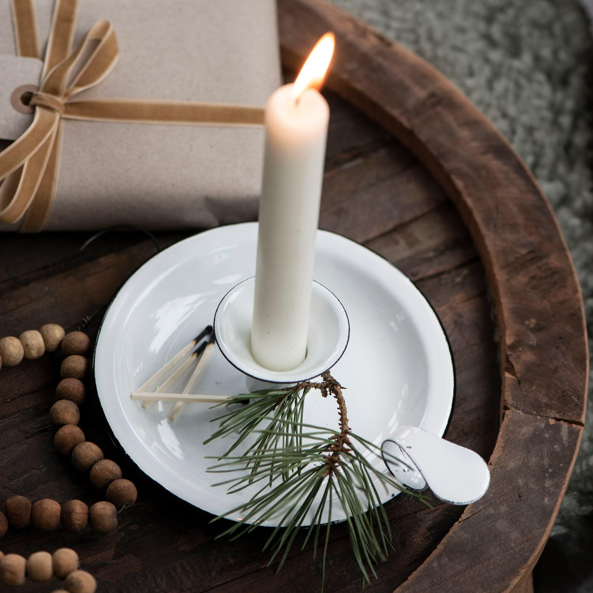 White Enamel Candle Holder