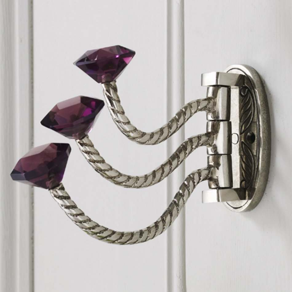 Adjustable Triple Hooks With Purple Glass Knobs