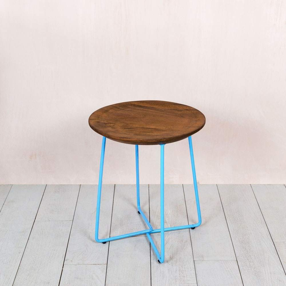 Blue framed wooden stool graham green