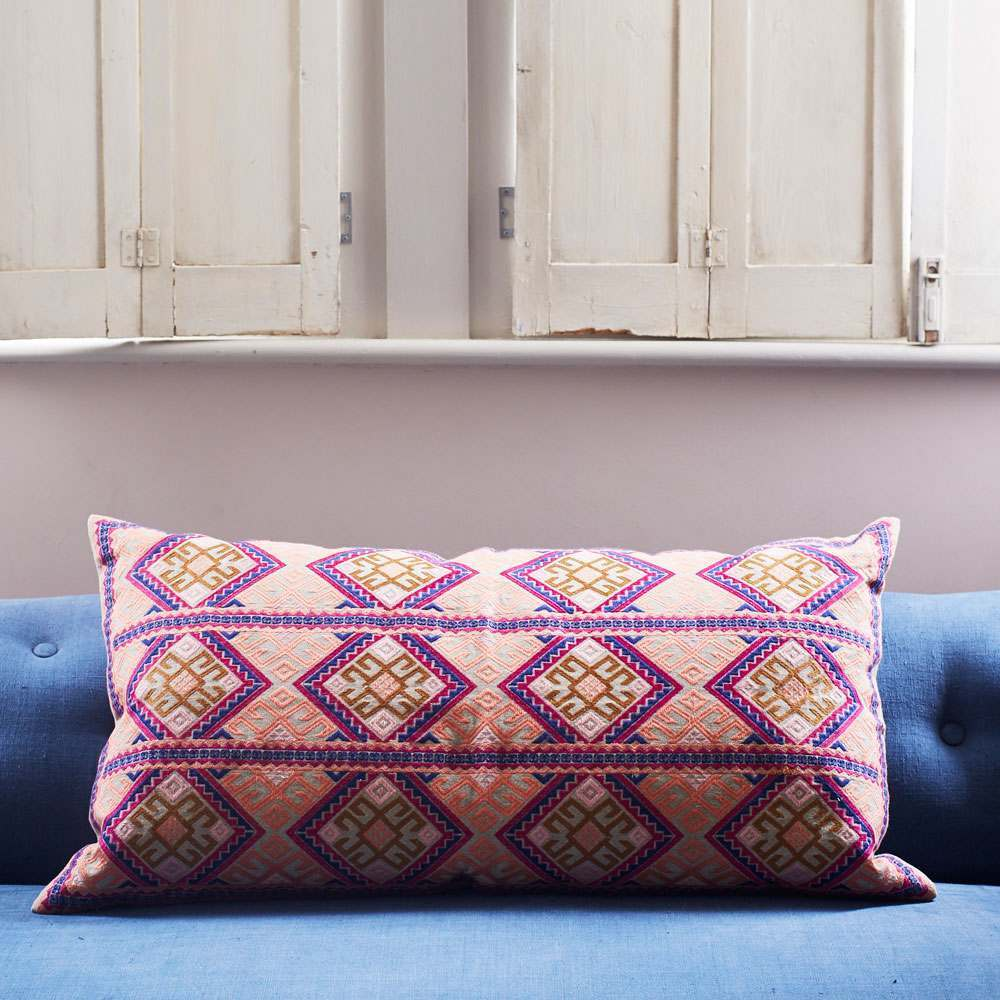 Anya Blue And Purple Mayan Print Rectangular Cushion