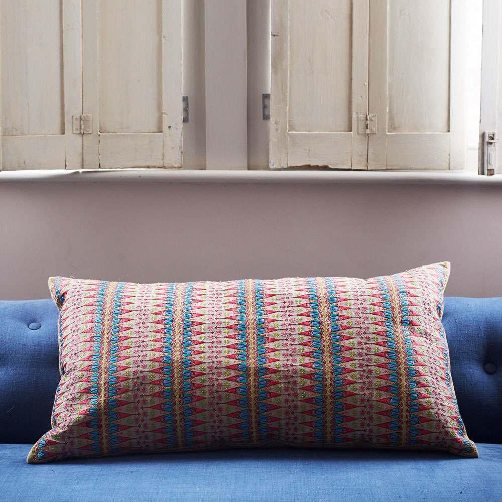 Anya Blue And Pink Ikat Print Rectangular Cushion