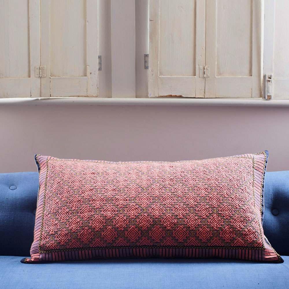 Anya Pink and Purple Rectangular Cushion