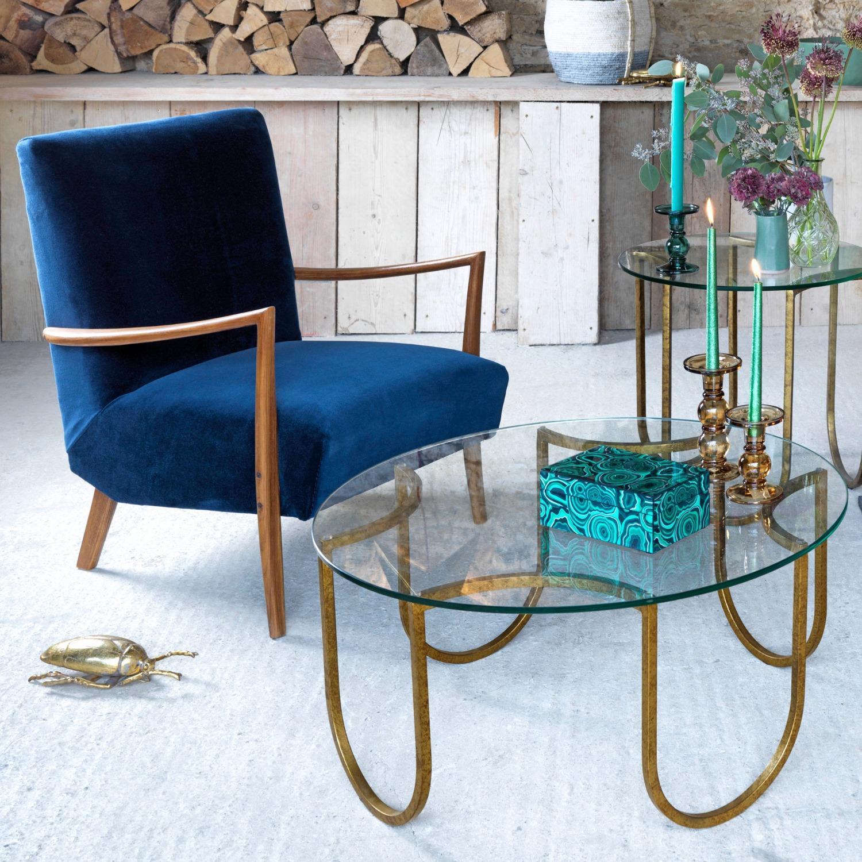 Alcee Sapphire Velvet Armchair
