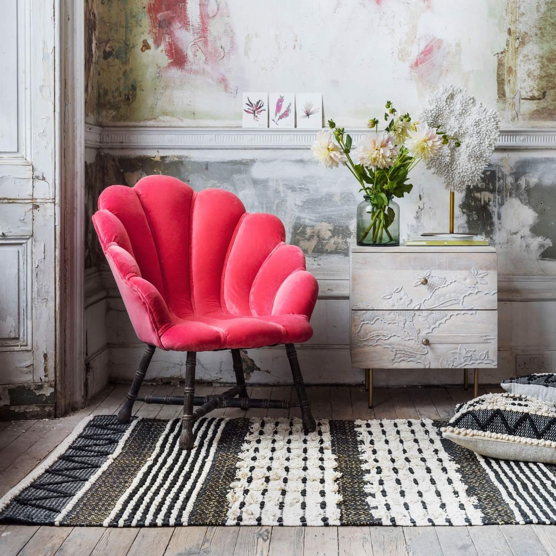 Ariel Coral Velvet Shell Chair