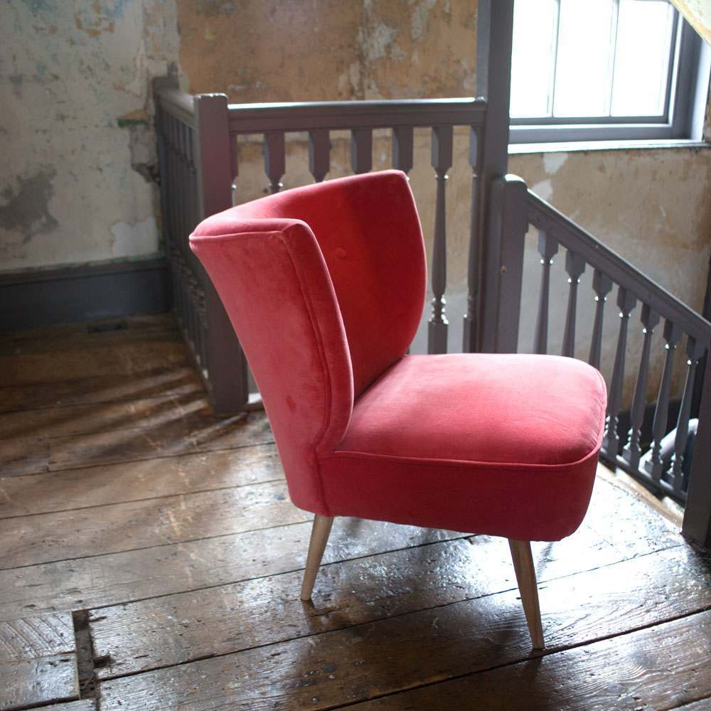 Alpana Coral Red Velvet Cocktail Chair