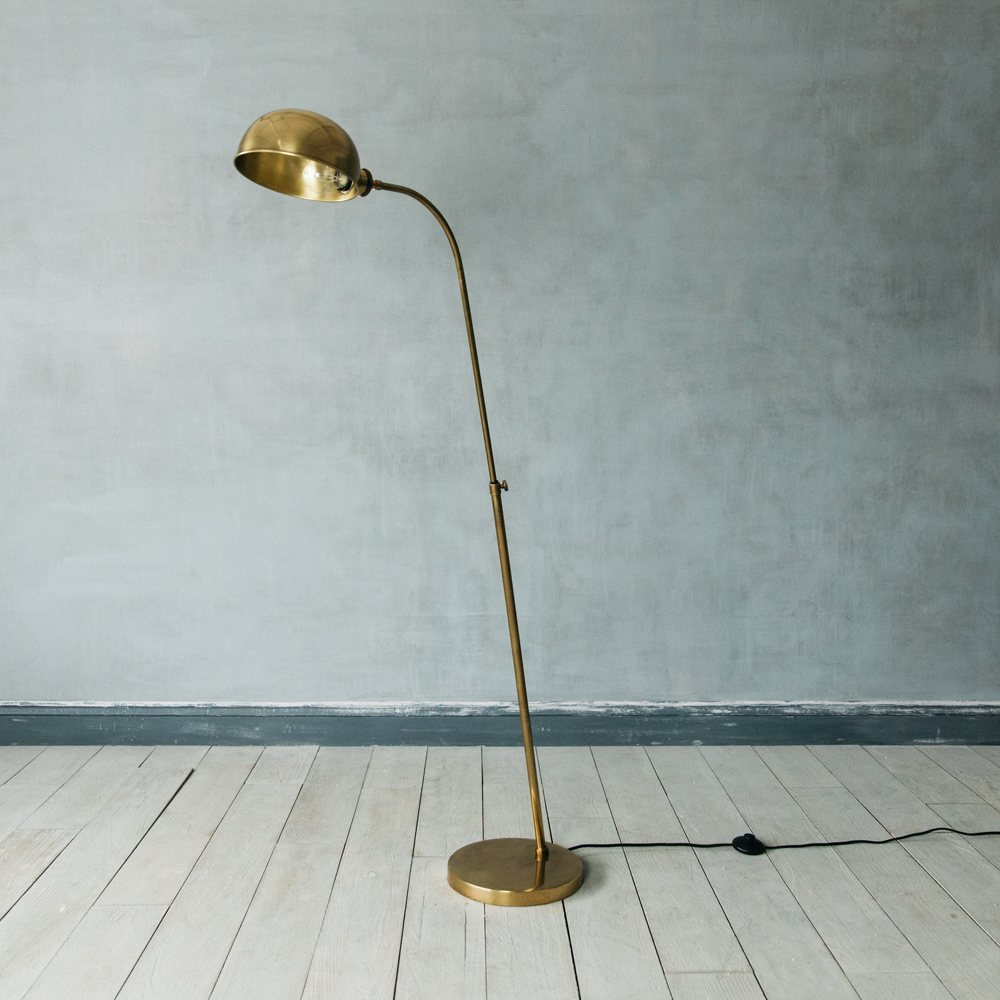Antiqued Brass Floor Lamp