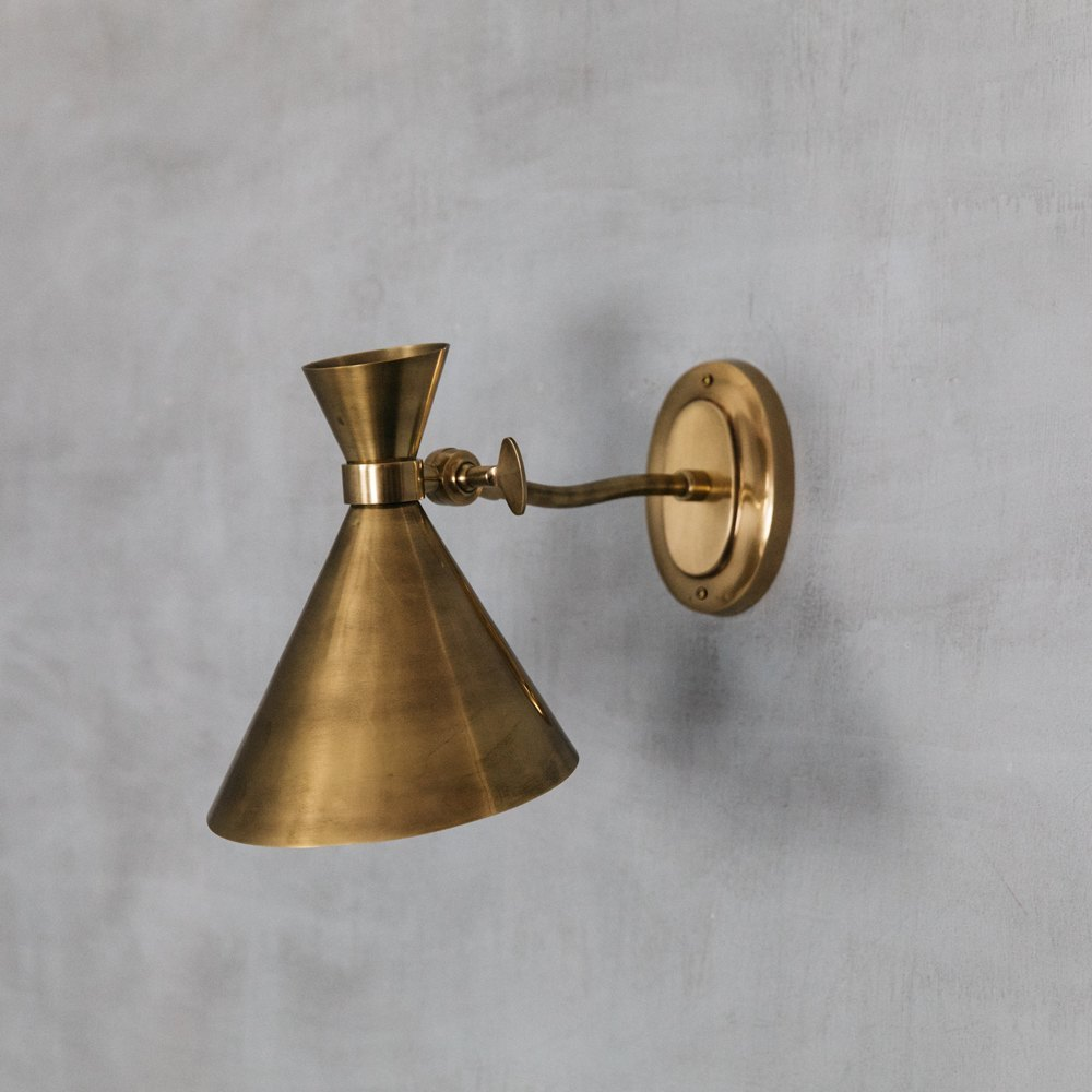 Angled Antiqued Brass Wall Light