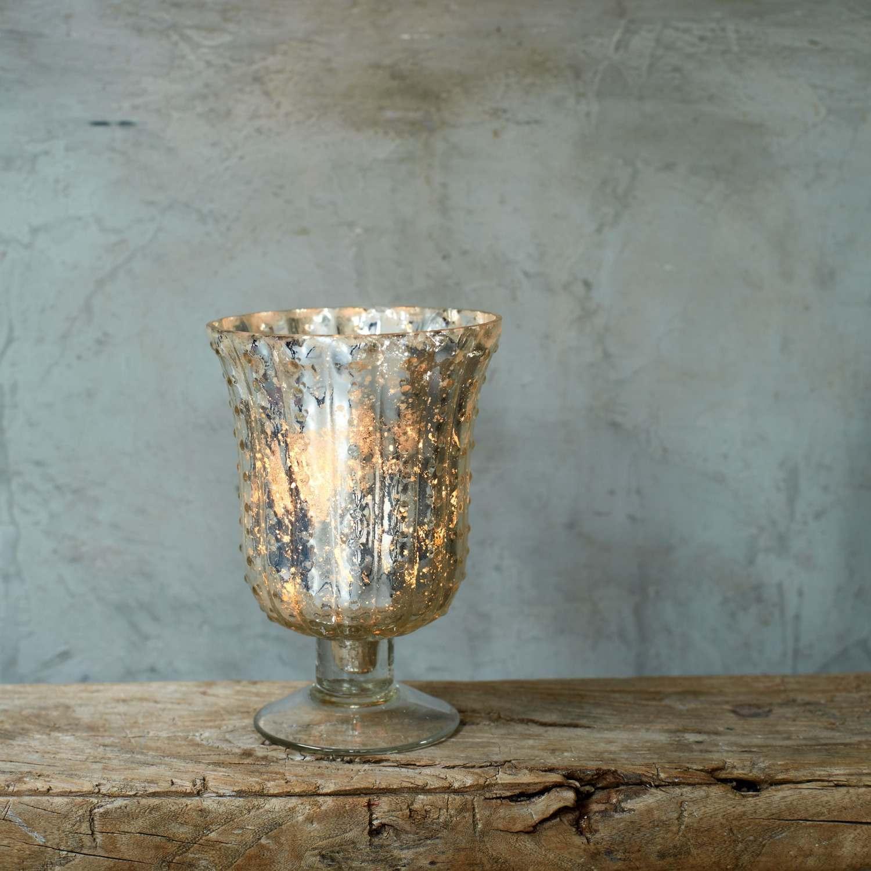 Antique Silver Glass Hurricane