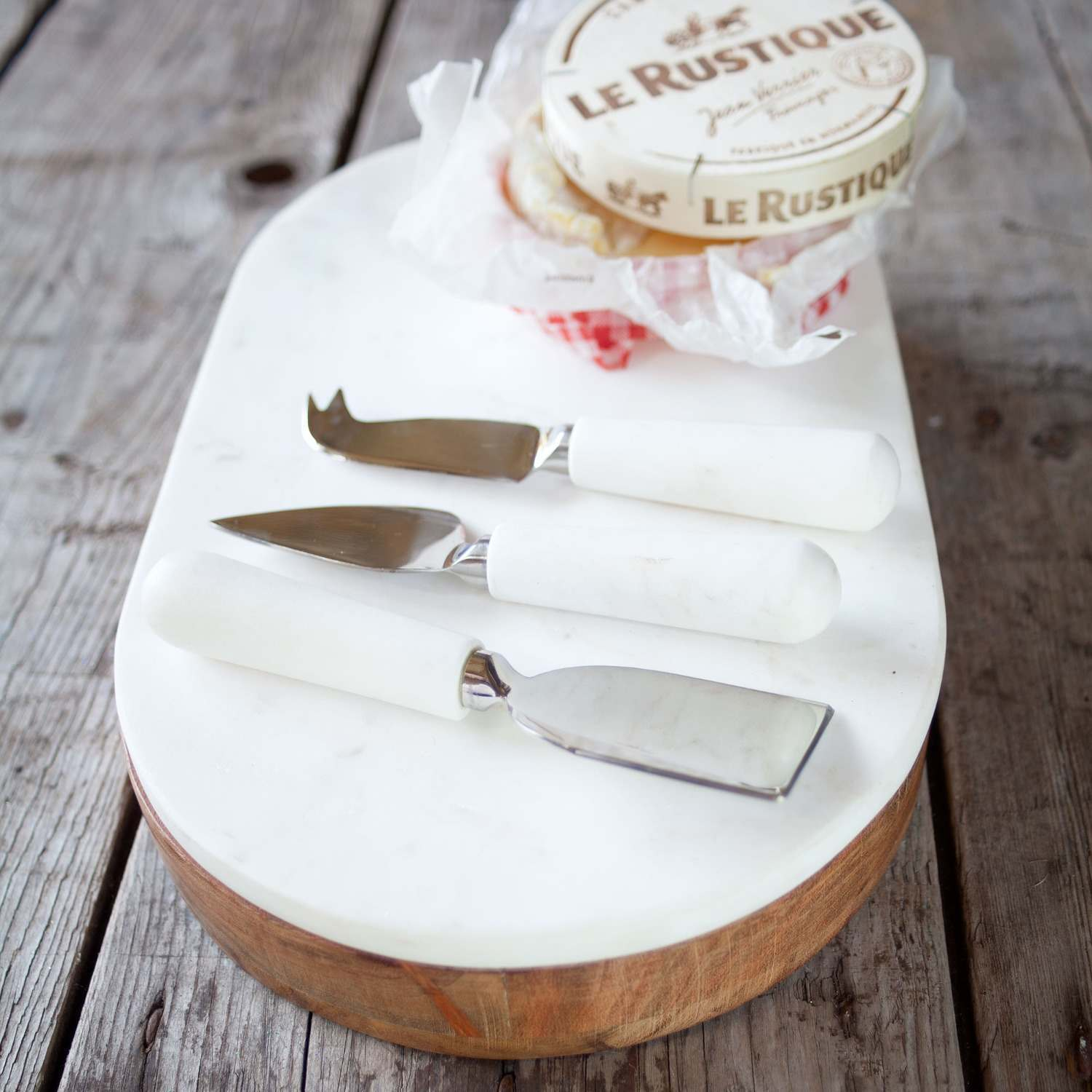 Acacia Wood and Marble Cheese Knife Set and Board