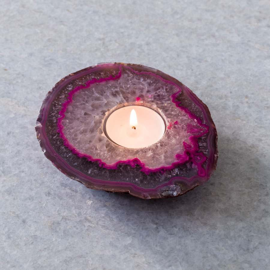 Agate Pink Tea Light Holder