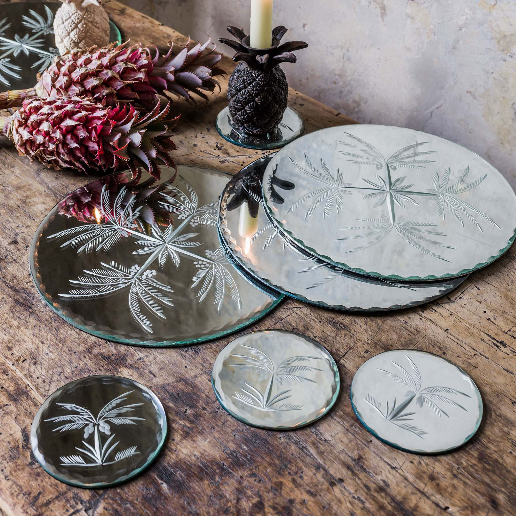 Etched Mirrored Glass Palm Tree Coasters And Place Mats Graham Green