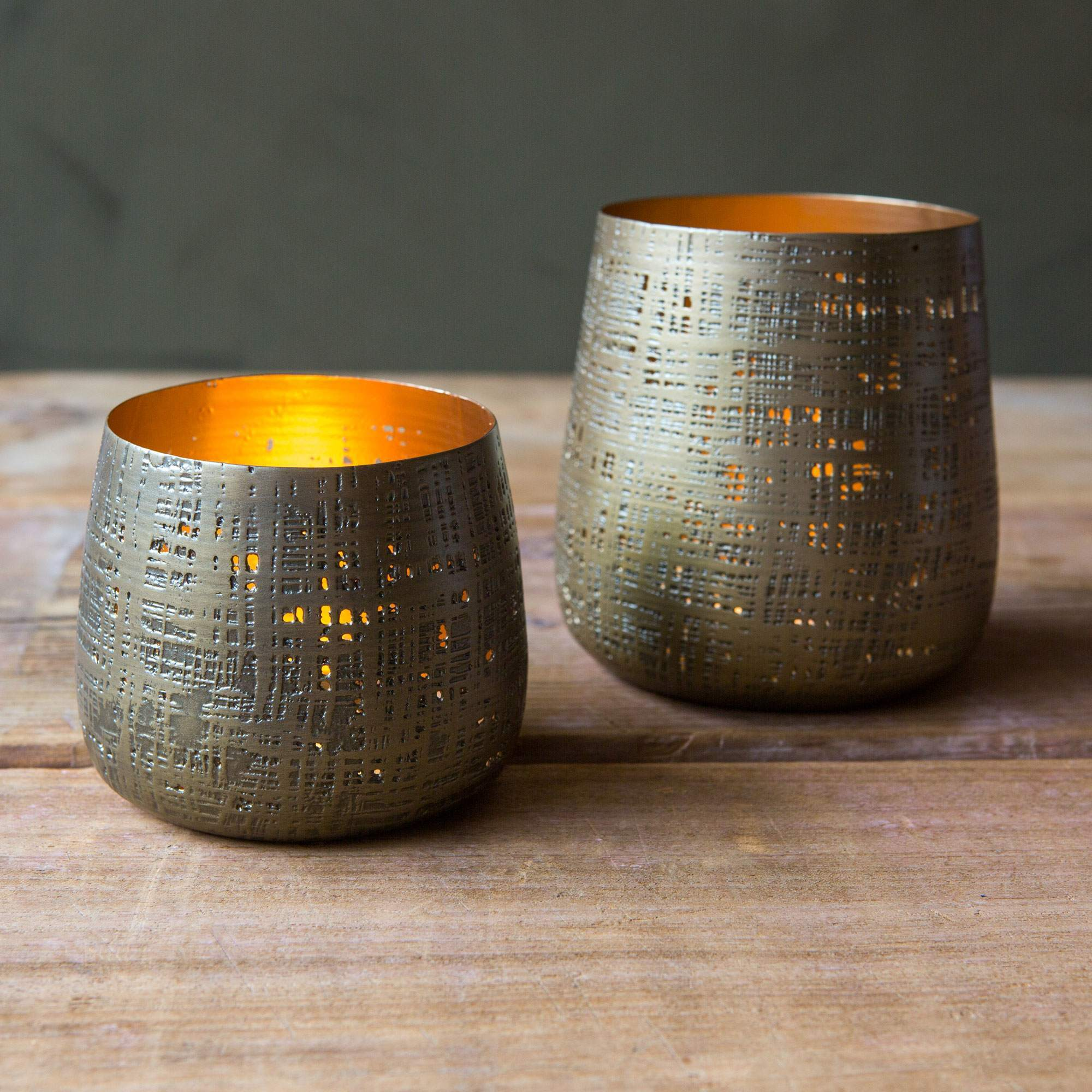 Textured Brass Tea Light Holders Graham Green