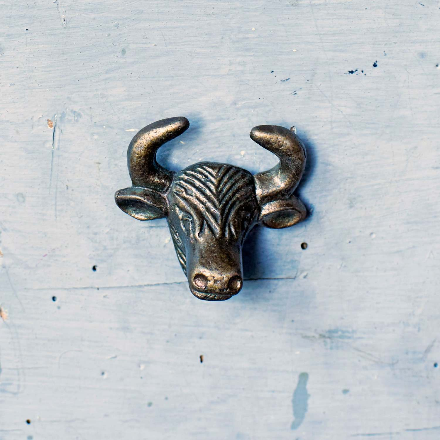 Antique Gold Bull Metal Drawer Knob