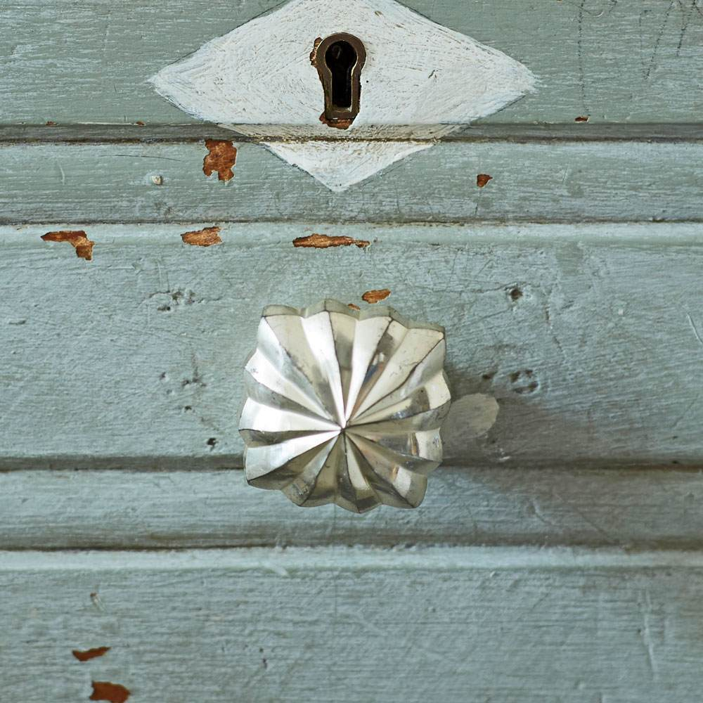 Antiqued Silver Square Star Drawer Knob