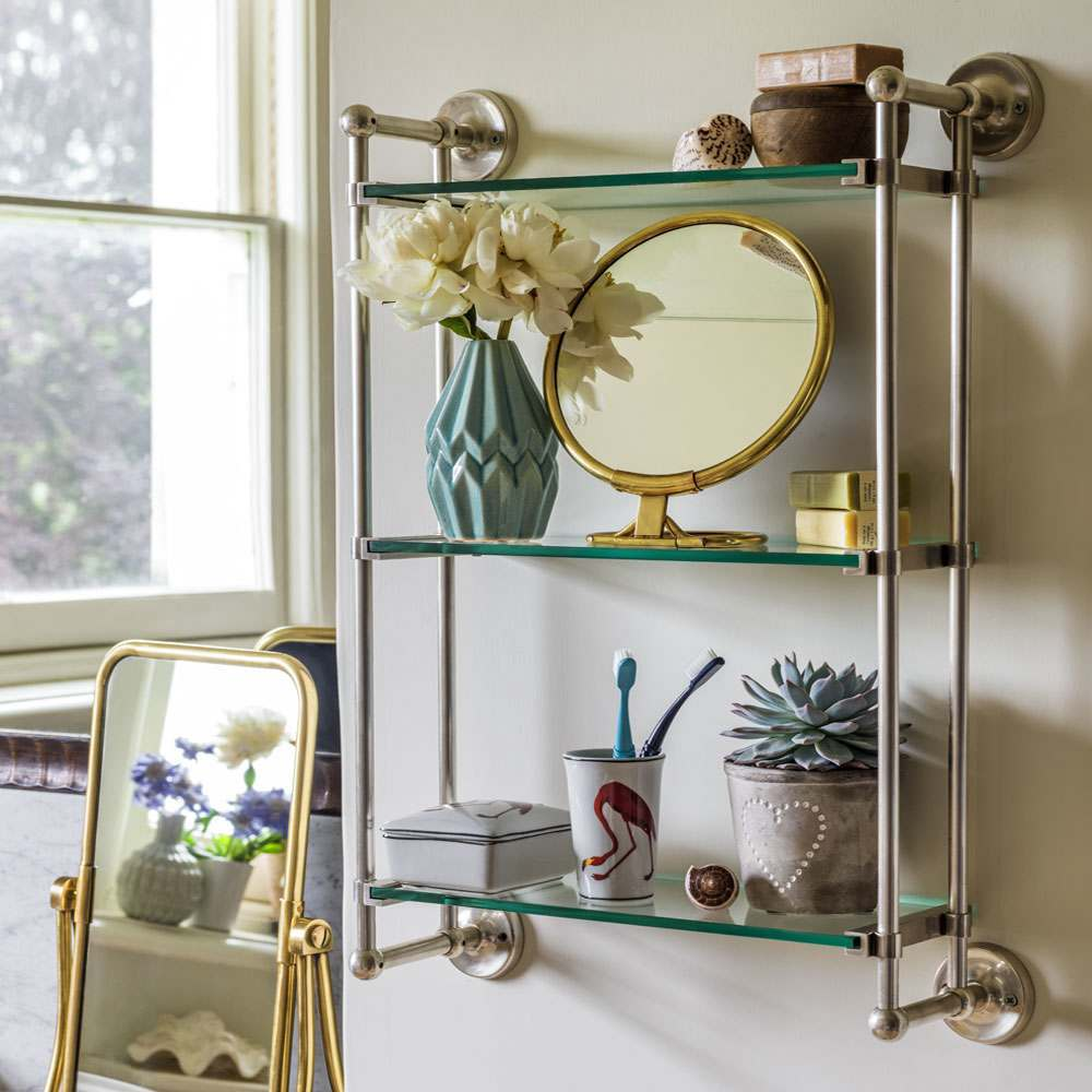 Otto Antique Silver Three Tier Glass Shelf Bathroom Unit