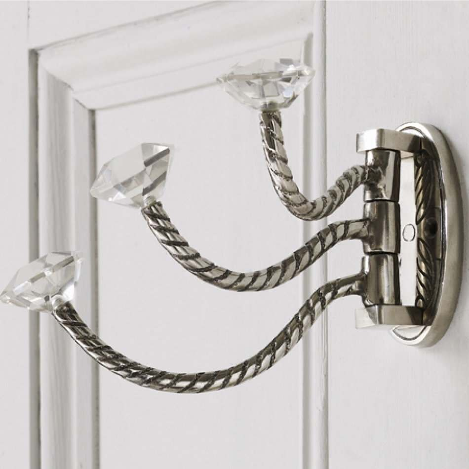 Image of Adjustable Triple Hooks With Clear Glass Knobs