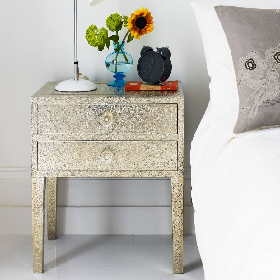 Embossed white metal two drawer bedside table graham green