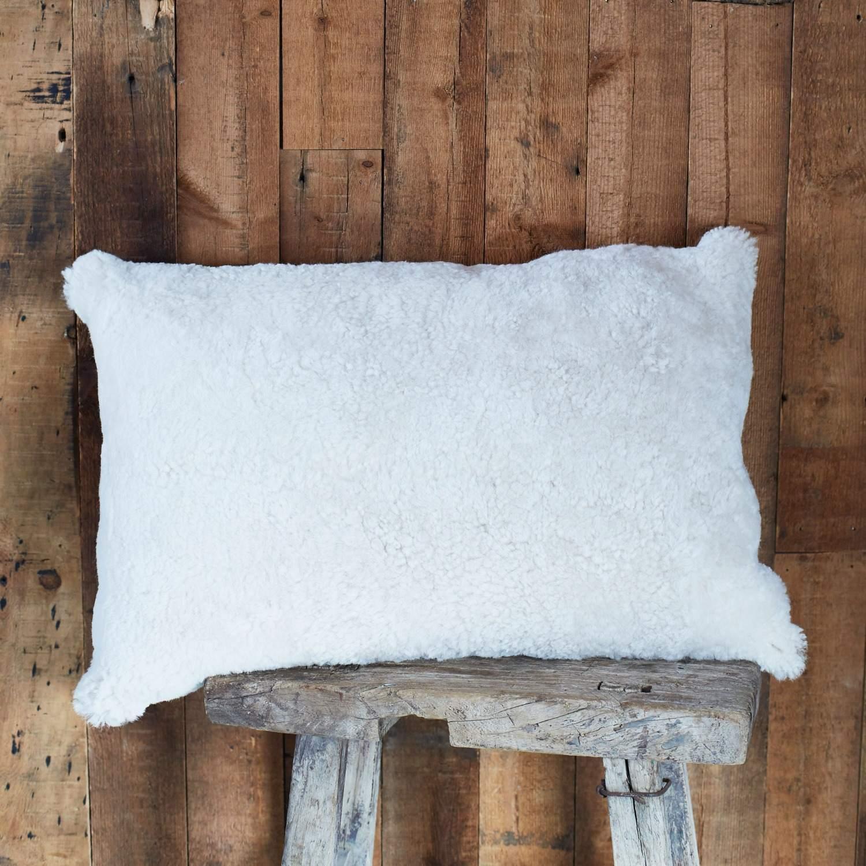 An image of Pearl Curly Sheepskin Rectangular Cushion